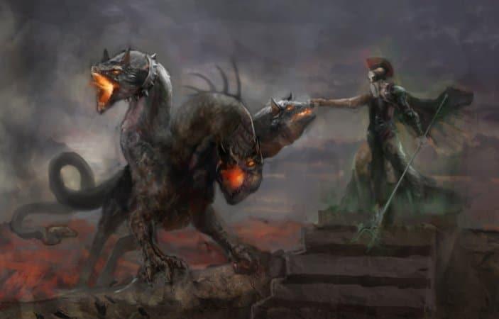 Hades üç başlı köpeği Kerberos ile yeraltı dünyasında.