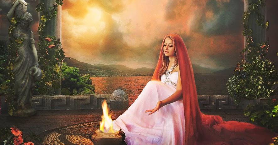 Hestia Yunan mitolojsinde Ocak Tanrıçası olarak geçer.