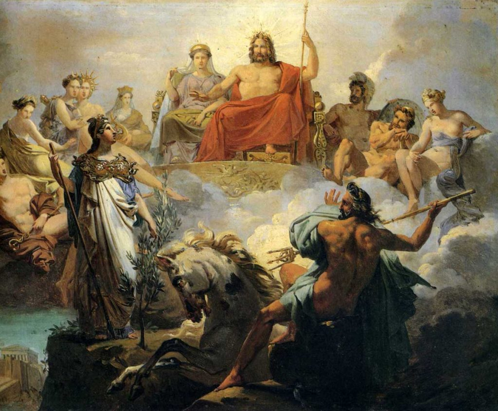 Zeus tüm tanrıların kralı, Olimpos'taki tahtında oturuyor.